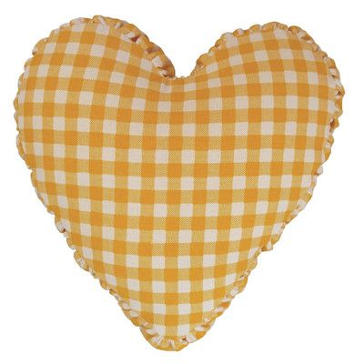 R&MIndustries Gingham Check Heart Cotton Throw Pillow Color: Yellow
