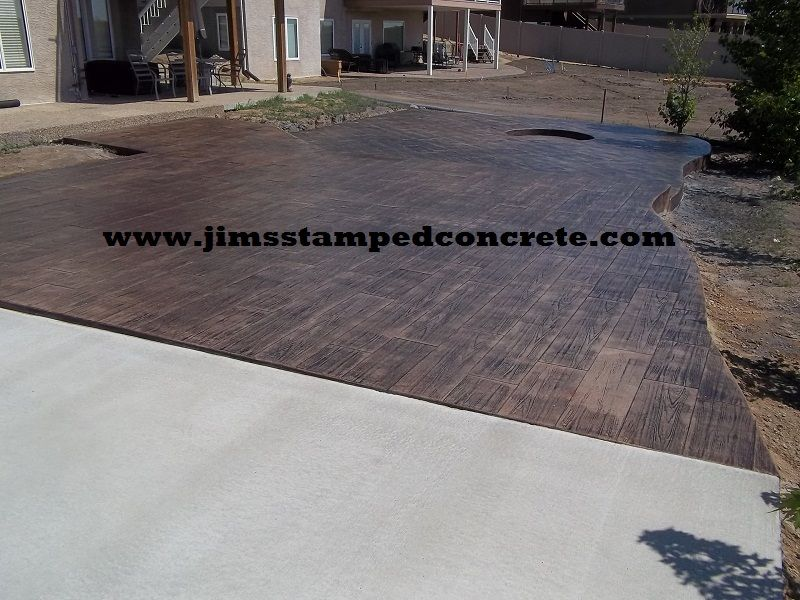 Concrete Stamp Wood Plank Patio | Colors: Base Color, This Is The Color  Added