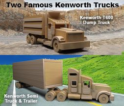 "Plan Set Description: Fantastic Detail yet Built for Rugged Play! Trucks are same scale. Famous Kenworth Semi Truck + Trailer is 4"" W x 7"" H x 28"" L. Working rear loading door on Semi Truck (Watch Video below). Famous Kenworth T600 Dump Truck is 4-3/8"" W x 5-1/4"" H x 14"" L. Fully functional dump bed on T600 (Watch Video below). Color 8-1/2"" x 11"" pages with black & white pattern pages."