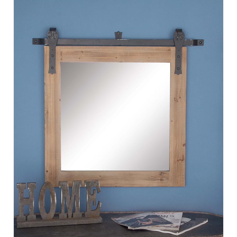 31 In X 34 In Brown Wooden Wall Mirror Rustic Wall Mirrors Mirror Wall Mirror Decor Wood and metal mirror