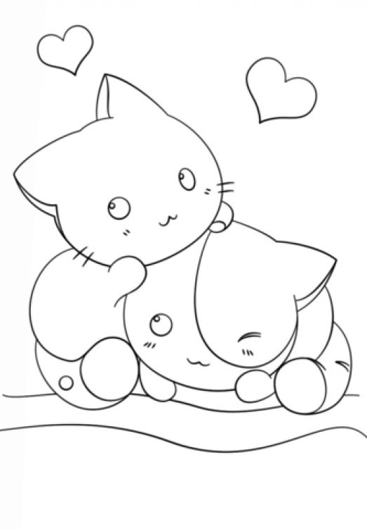 Two Kawaii Kittens In Cute Coloring Page For Girls