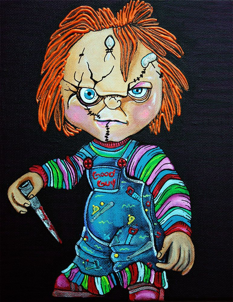 Chucky Art Good Guy Doll Painting Movie Fan Art Childs Play Horror NR barbosaart