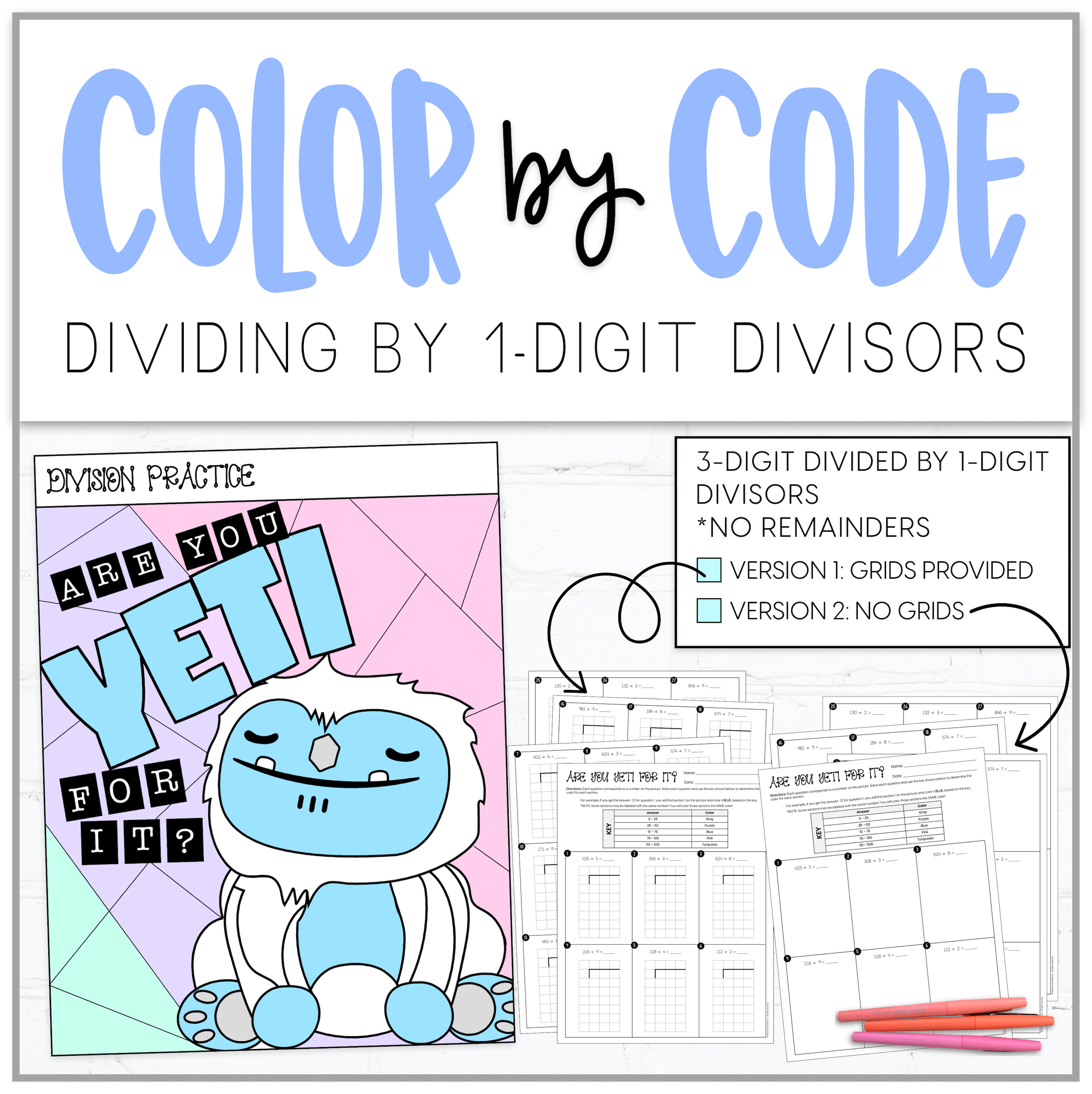 Dividing By 1 Digit Color By Number