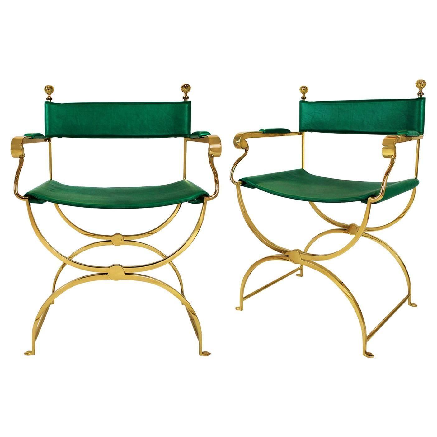 Modern savonarola chair - Valenti Pair Of Savonarola Chairs Brass Frame Circa 1980