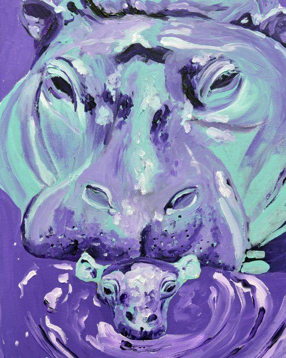 Purple and Blue Mom and Baby Hippo Art Print, nursery art , hippo nursery, art for kids room #babyhippo