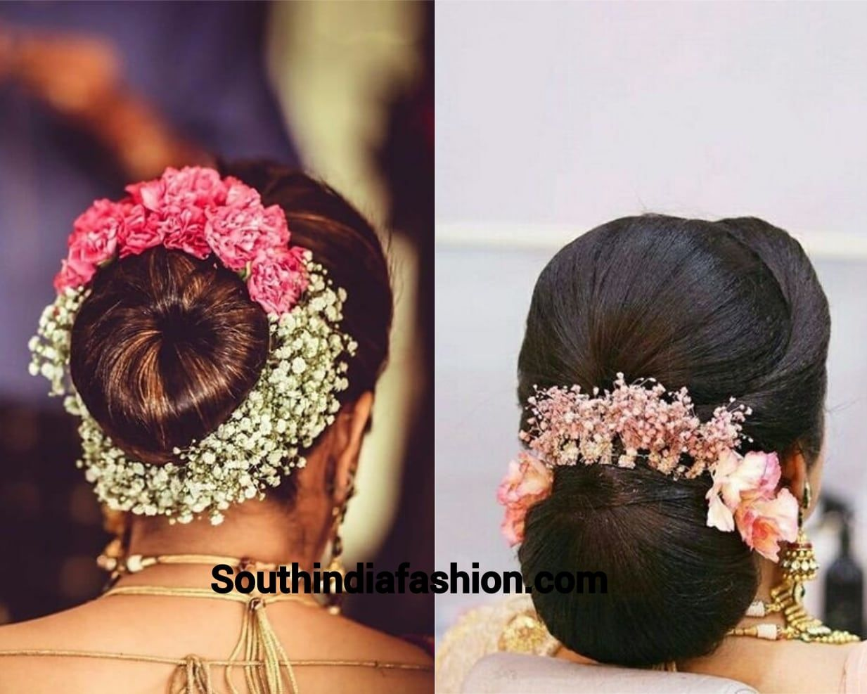 indian wedding bun hairstyle with flowers and gajra