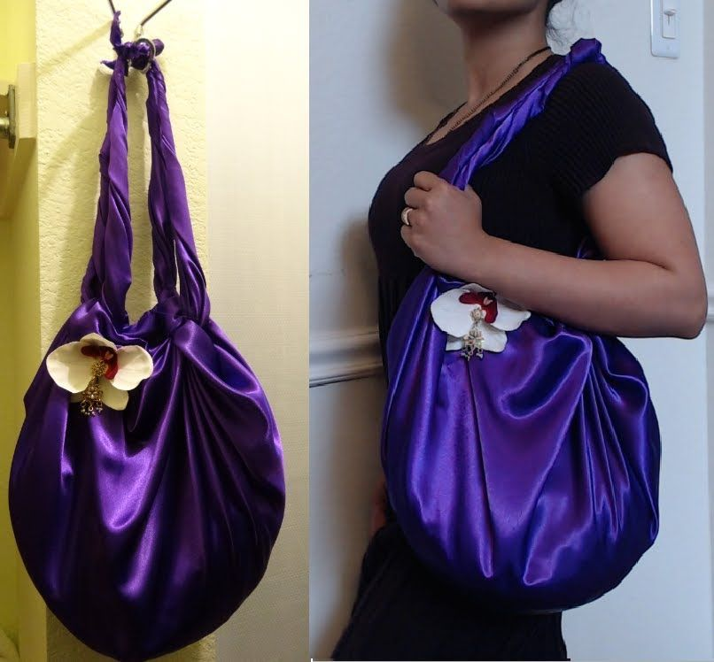 DIY Fashion : No Sew  Shoulder Bag in 2 minutes ( Just 1 yard of fabric)