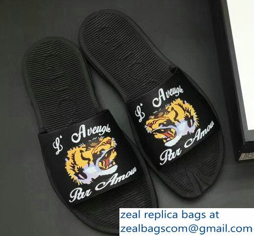 9395c3753cd Gucci Men  s Slide Sandals Tiger With L aveugle par amour Black 2018 ...
