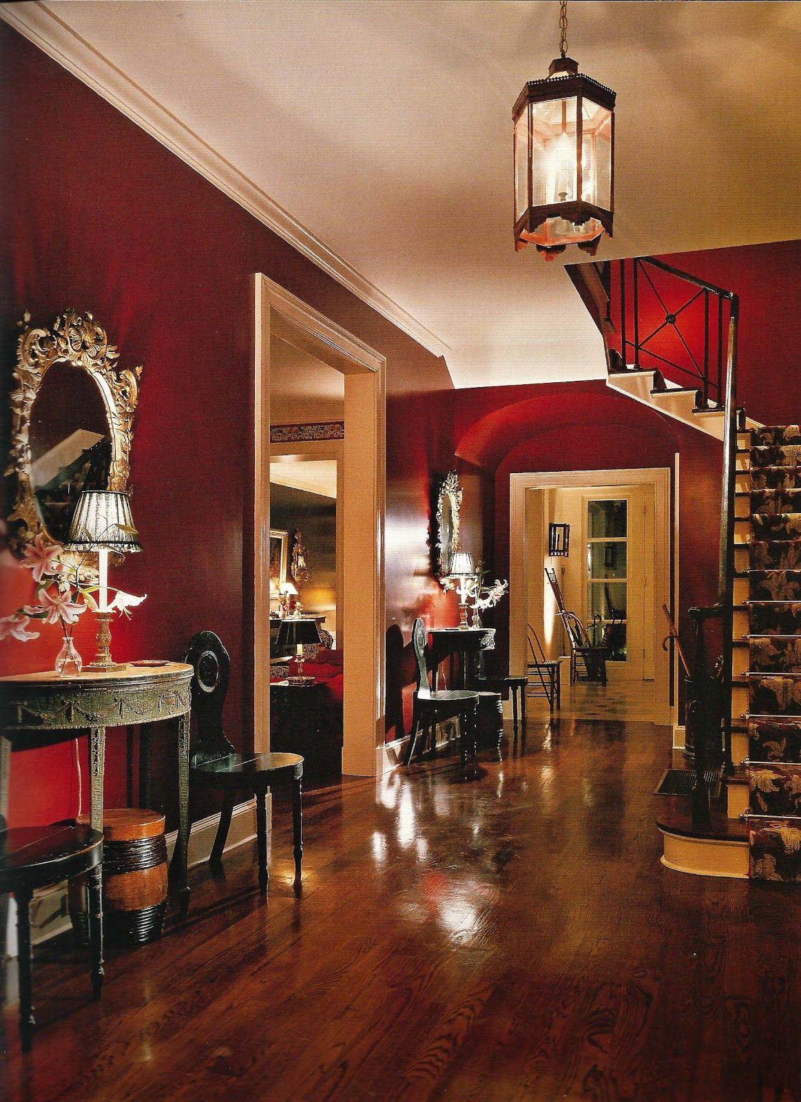 Red Wall Living Room Love The Rich Colors And Contrast In This Space Deep Reds
