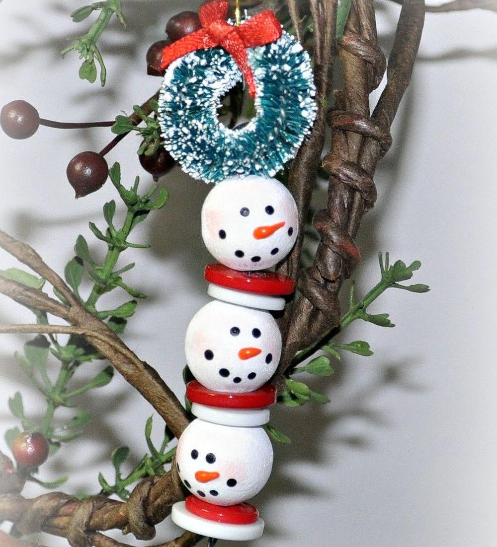 Beaded Snowman Strand Handmade Christmas Ornaments Christmas Bead Beaded Christmas Decorations