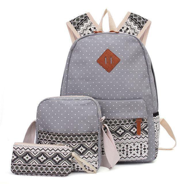 AEQUEEN 3 PCS Set Women Backpack Canvas Printing School Bags For Teenagers  Girls Laptop Backpacks Cute Rucksack School Bags f296cae3e2