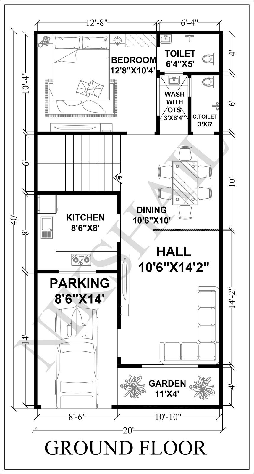 8X8 House plan car parking with 8d elevation by nikshail  8x8