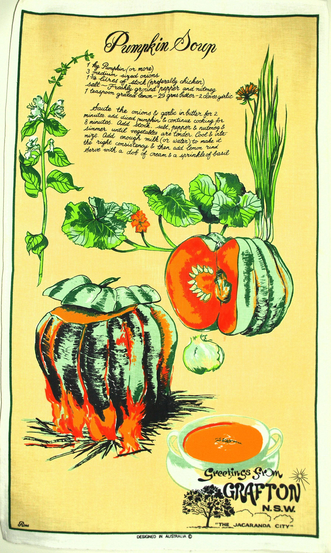 Pumpkin Soup Recipe Tea Towel Vintage Retrp Ross Vegetable Squash