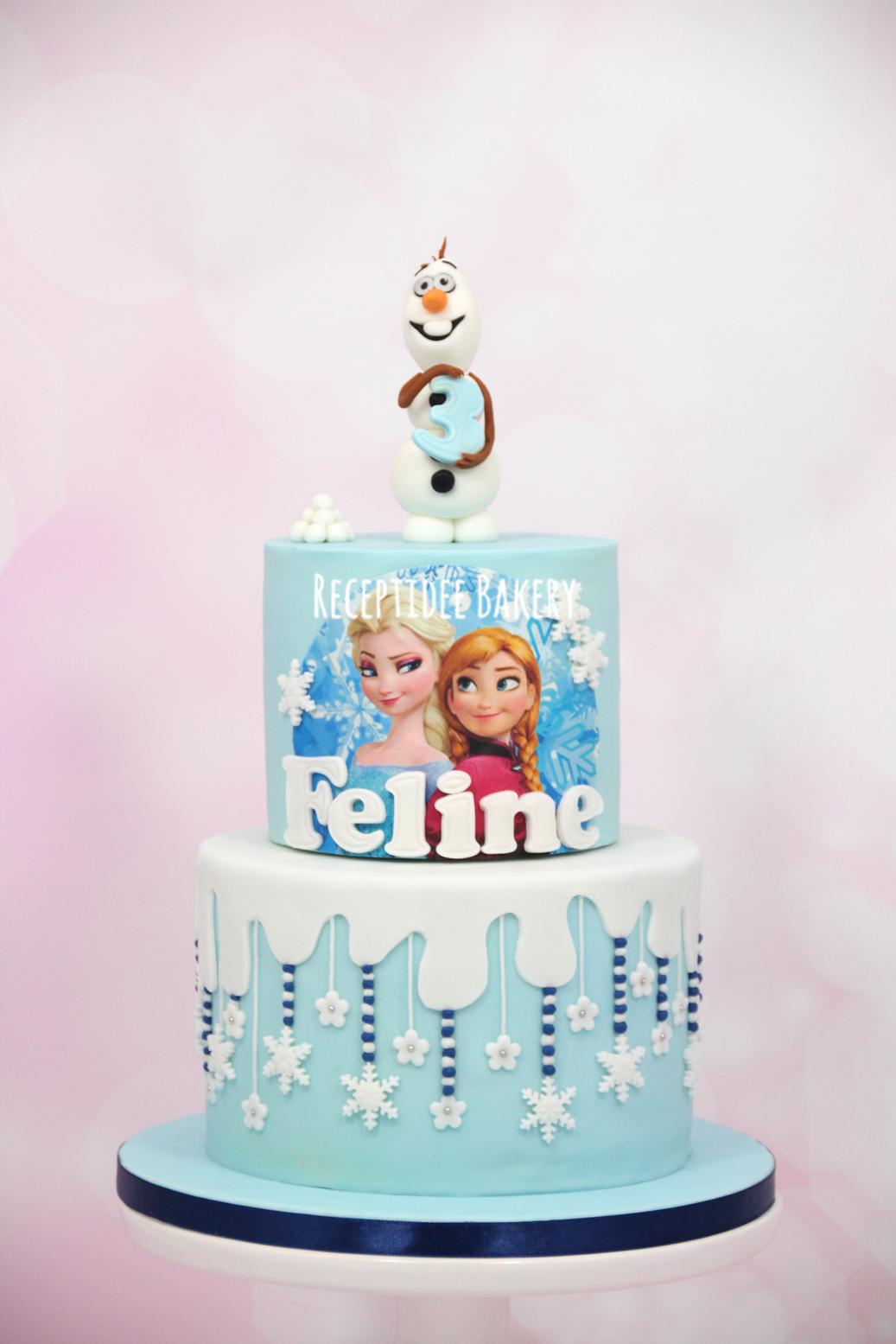 Admirable Frozen Cake Frozen Elsa Anna Olaf Snow Snowflakes Birthday Cards Printable Nowaargucafe Filternl
