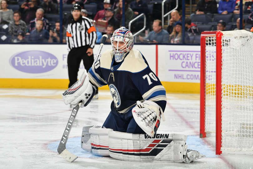 COLUMBUS, OH - NOVEMBER 15: Goaltender Joonas Korpisalo #70 of the Columbus Blue Jackets defends the net against the Florida Panthers on November 15, 2018 at Nationwide Arena in Columbus, Ohio. (Photo by Jamie Sabau/NHLI via Getty Images)