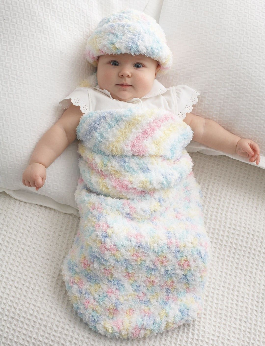 Yarnspirations.com - Bernat Easy Baby Cocoon and Hat - Patterns ...