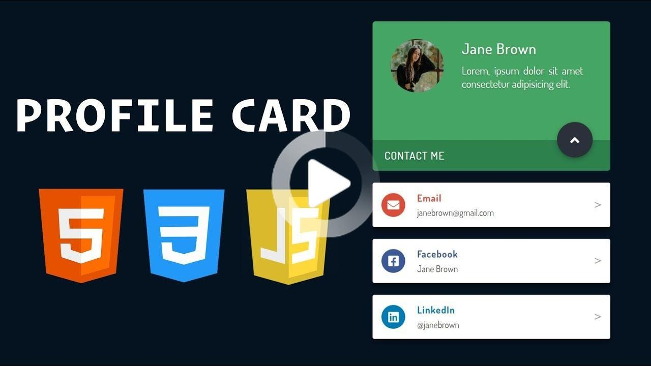 Build A Profile Card With Html Css And Javascript In 2020 Web Design Javascript Css