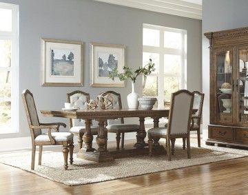 Pulaski Stratton 7 Piece Rectangular Trestle Dining Set In Aged Honey Rectangular Dining Room