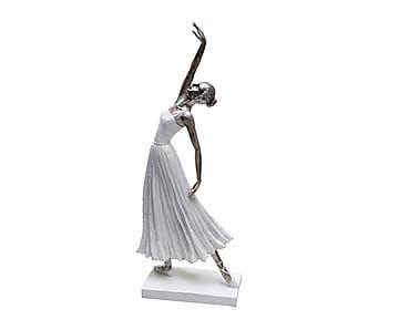 Bailarina decorativa de resina Dance - blanco y plateado