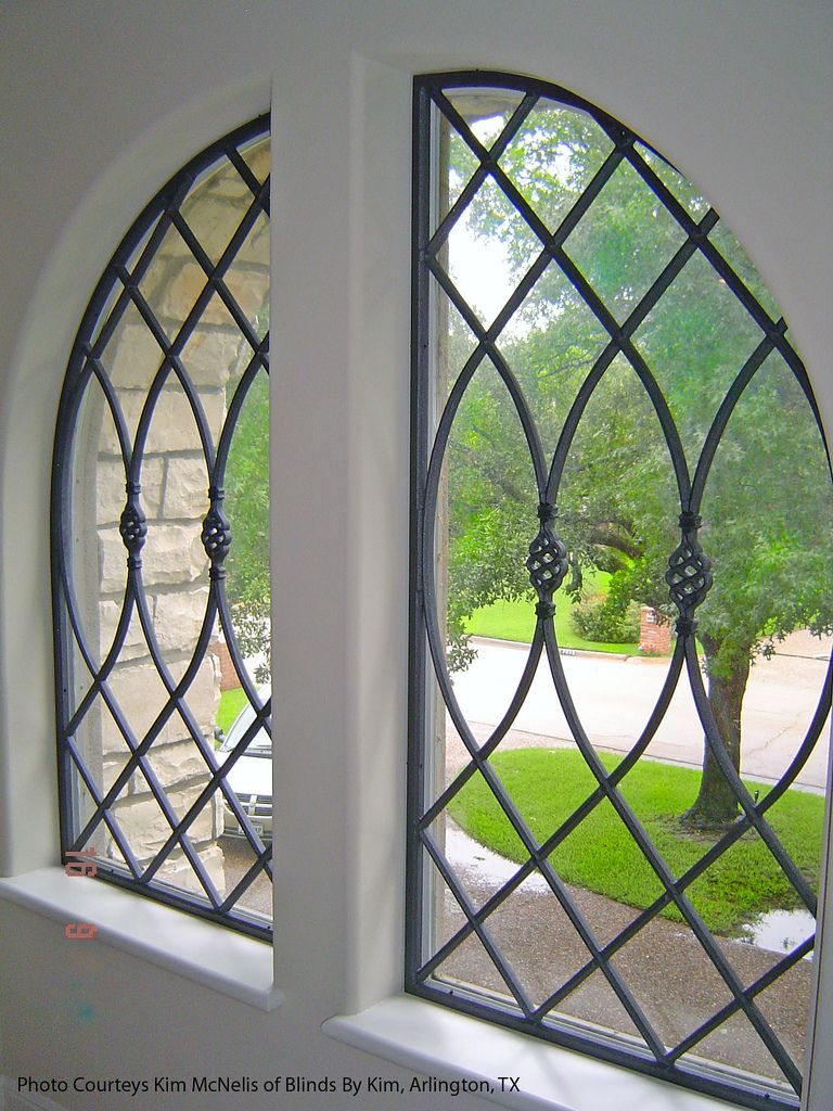 Faux wrought iron double window treatment wrought iron for Window bars design