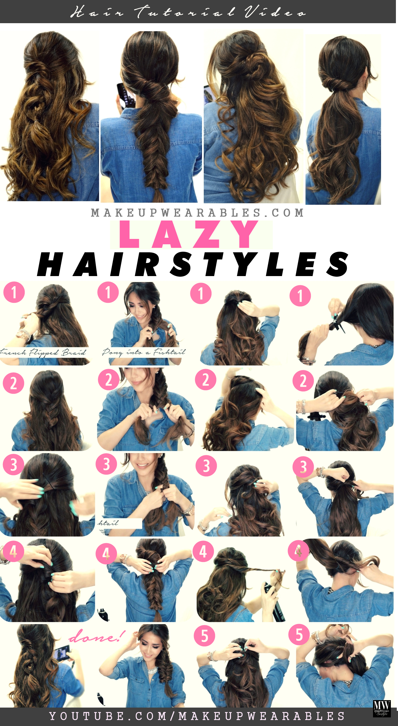 4 Easy Lazy Hairstyles 5 Minute Everyday Hair Tutorial Video Lazy Hairstyles Long Hair Styles Hair Styles