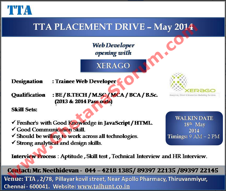 FRESHERS) Walk-In at 'XERAGO' BE / B.Tech / MCA / M.Sc / B.Sc / BCA on bs information technology, master of science in information technology, bachelor's degree information technology,