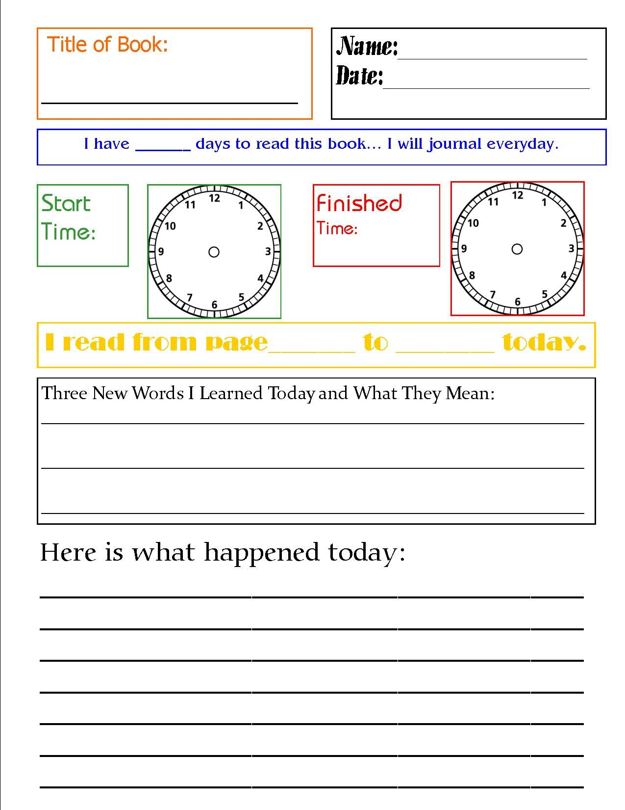 Free Generic Reading Journal - daily template for entries Fantastic ...