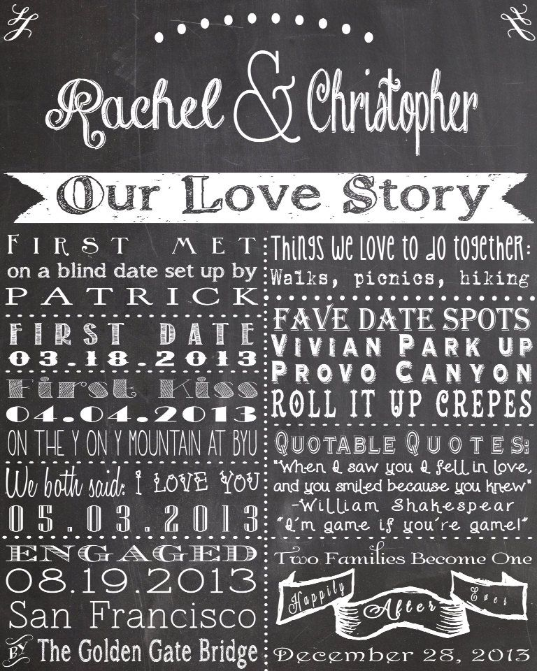 Our Love Story Wedding Idea: Chalkboard Love Story Sign