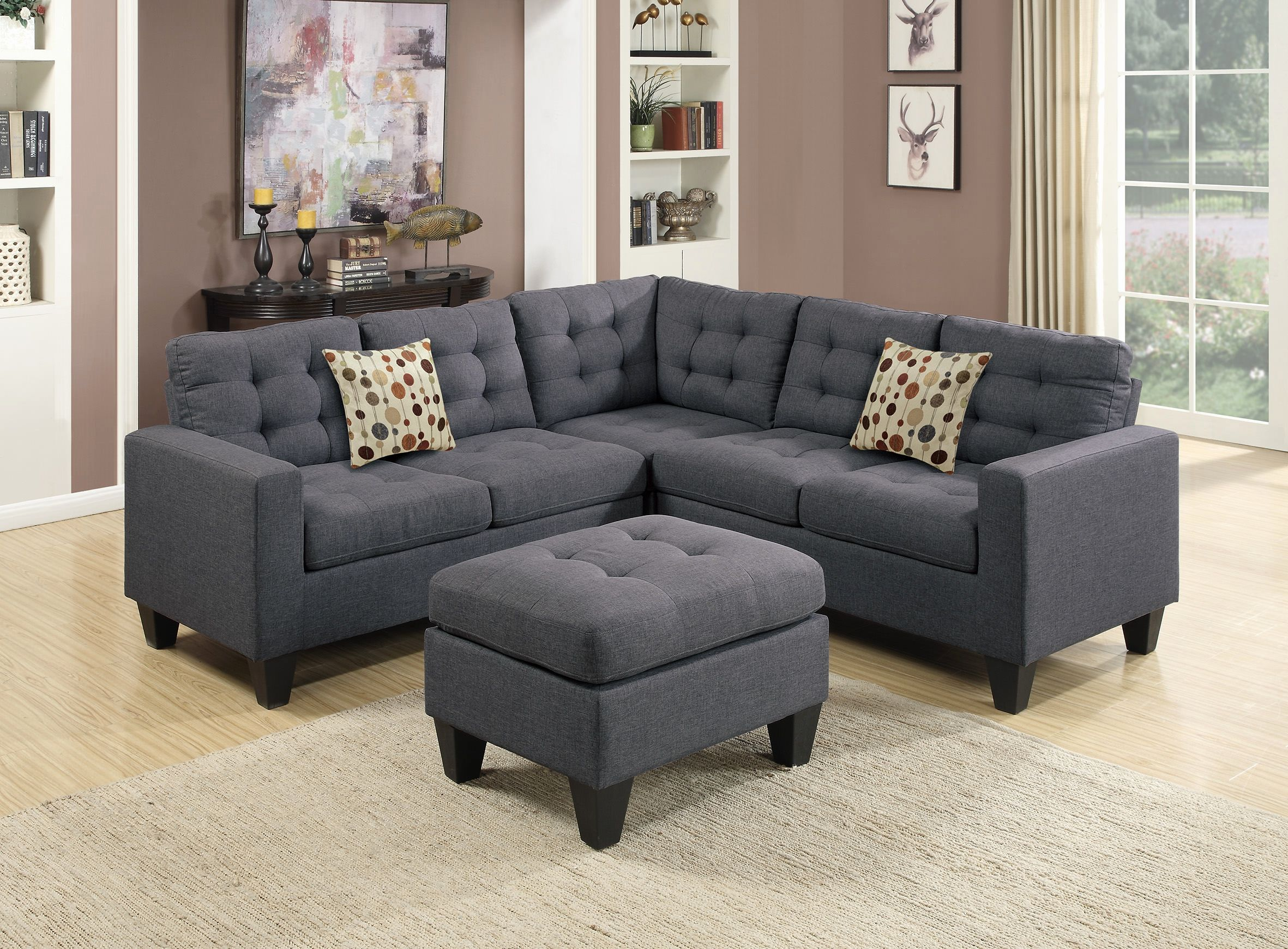 Glam Sofa Set Rattan Corner Sets Uk Navy Microfiber Alema By