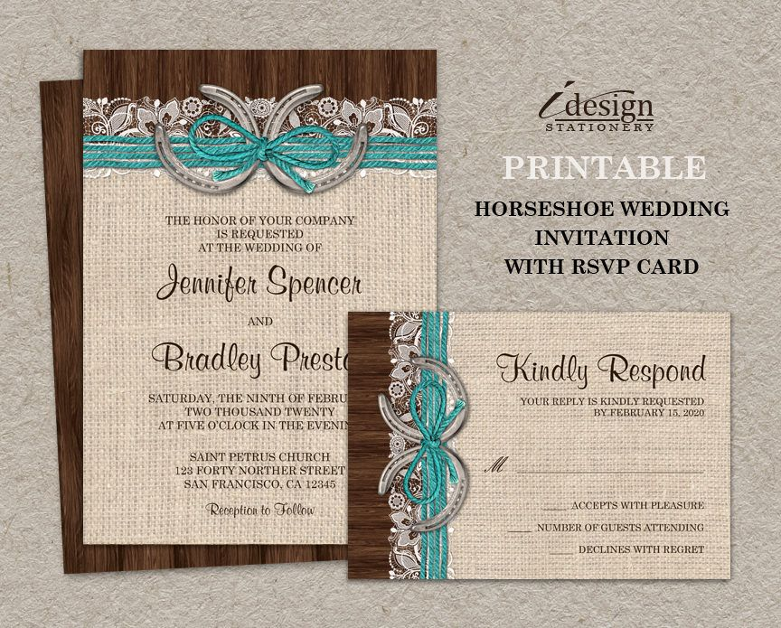 Printable Rustic Turquoise Country Western Horseshoe Wedding Invitation Wit Horseshoe Wedding Invitations Western Wedding Invitations Brown Wedding Invitations