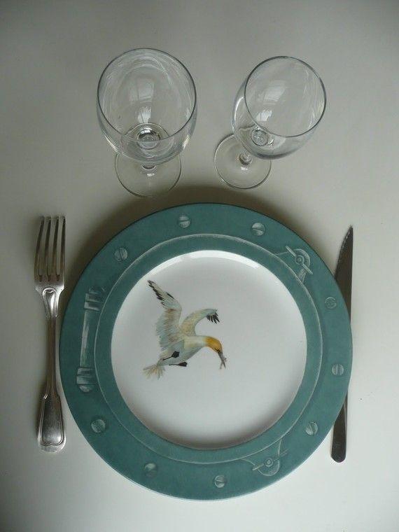 assiette plate bord de mer en porcelaine, peint main