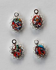 VINTAGE 4 MILLEFIORI GLASS OVAL BEAD BEADS 8 x 10mm STERLING SILVER PLATED