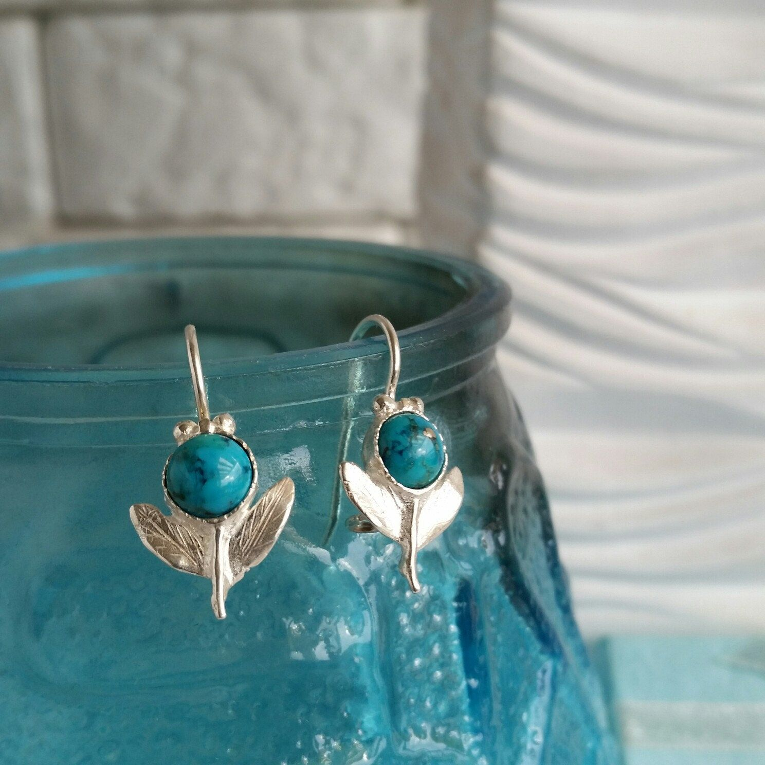 Turquoise silver earrings branch silver earrings small leaf