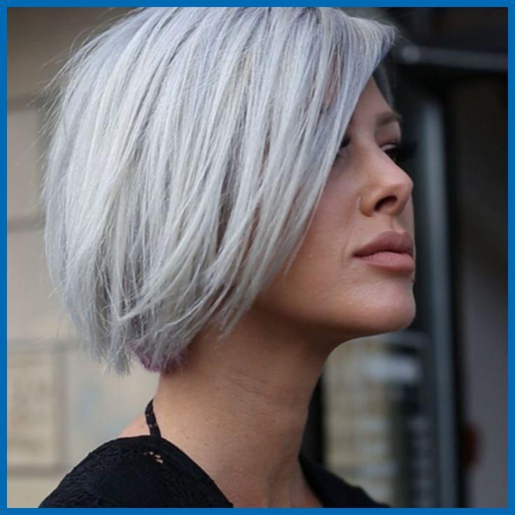 Bob Haircut Gray Hair 9ac88e6d85c127898d0fea5a2bdfdac9 Grey Hair Styles Pop Of Color Photos Jpg 736 736 Pixels Hair Styles Chin Length Hair Short Hair Styles