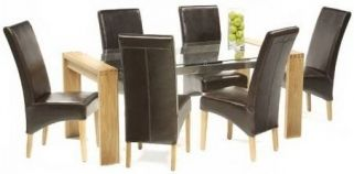 Mark Harris Roma Solid Oak and Glass 180cm Dining Table with 6 Roma Brown Chairs