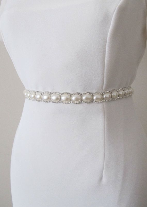 Bridal Crystal Pearl Beaded Belts Wedding Sash Belt Ready To Ship
