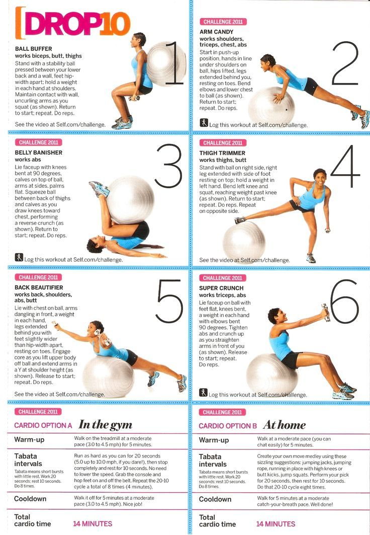 Stability ball workout. The link takes you to a tumblr with various posters, but the pin itself is handy.