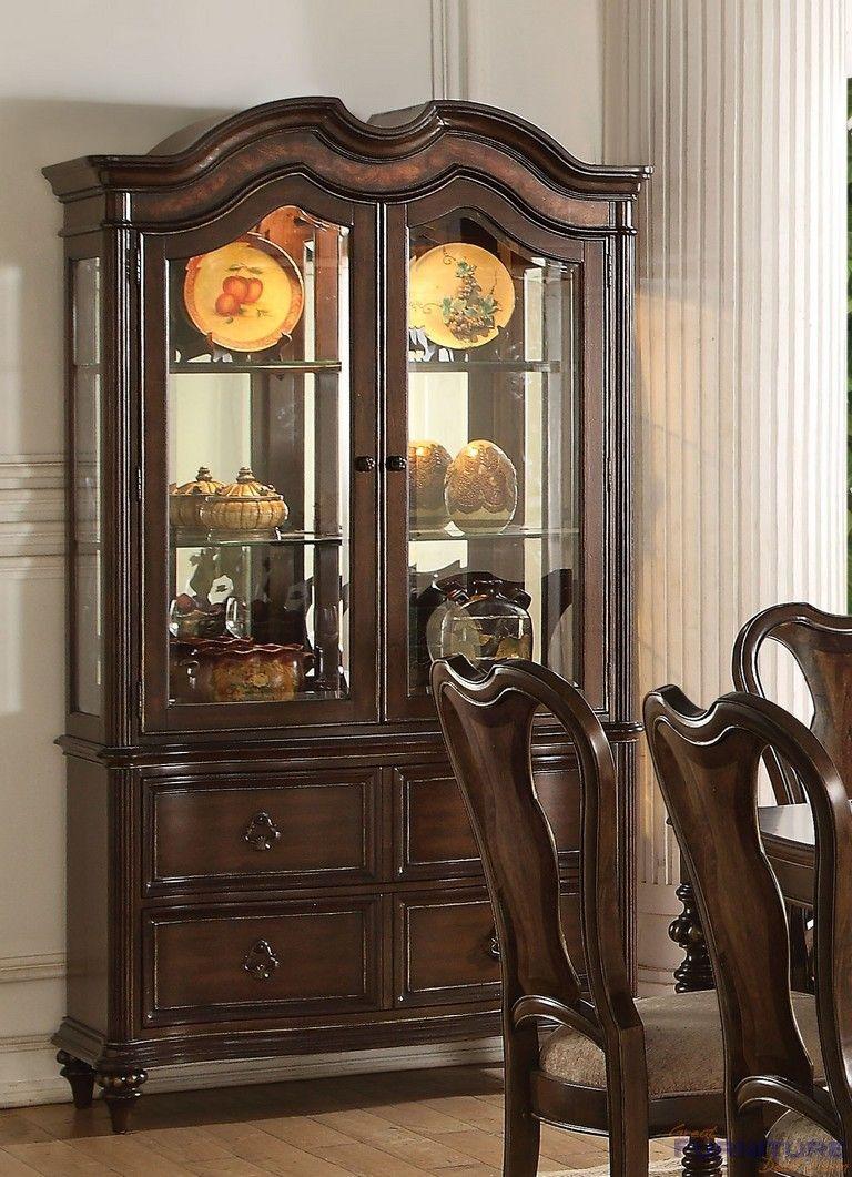 Acme Furniture Azis Dark Walnut Storage Buffe Hutch China Cabinet 63774