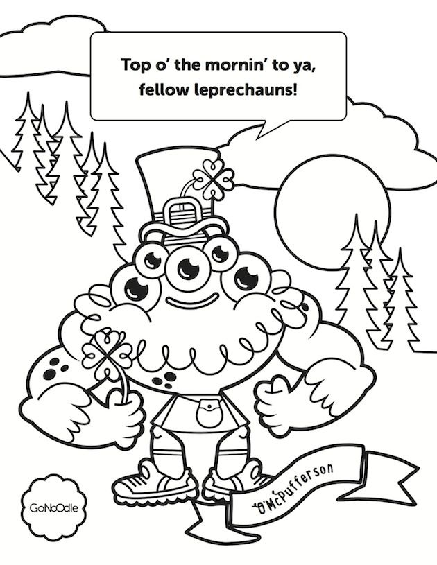 St. Paddy's Day coloring sheets from GoNoodle! Click