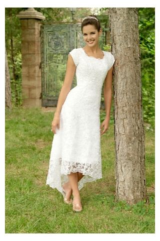 Tea-length White Bridal Gown in Charming Lace with Asymmetrical ...