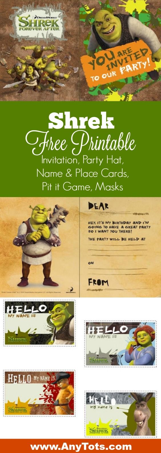SHREK BIRTHDAY INVITATION and Envelopes Party Supply Birthday          7-7B