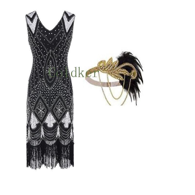 Flapper Headpiece 1920s V-Neck Beaded Fringed Great Gatsby Dress S-3XL Plus