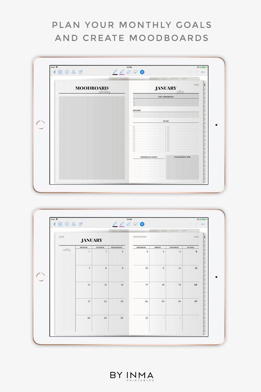Digital Planner Minimalist Goodnotes Template 2019 Planner Ipad