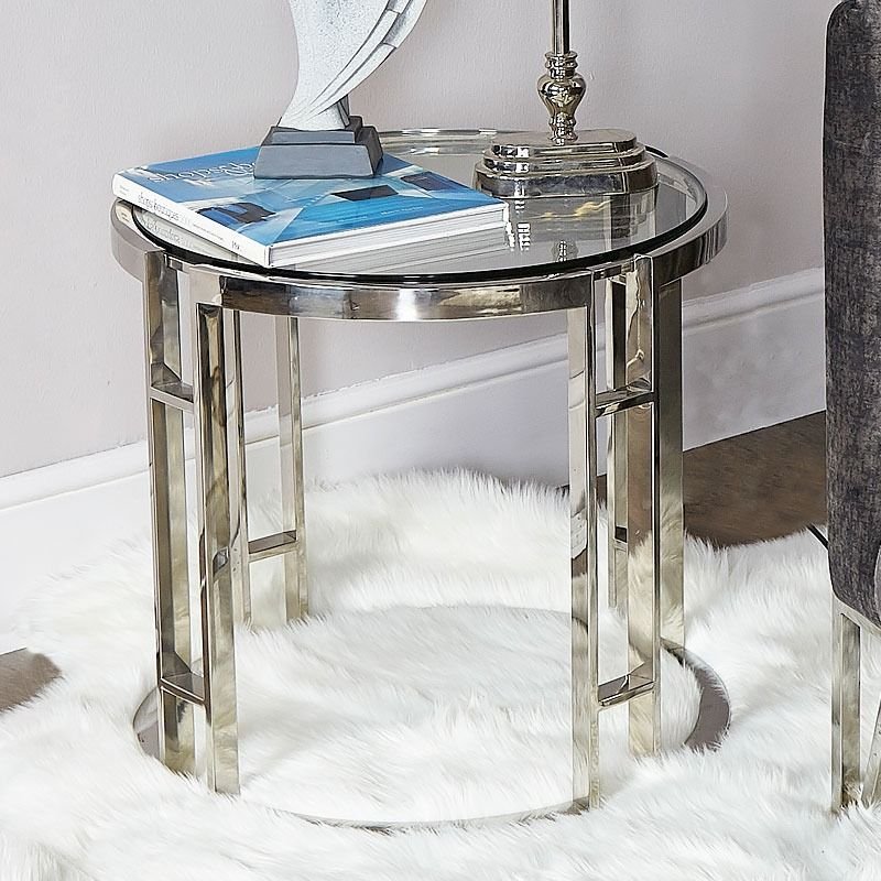 Atticus Chrome And Tempered Glass End Side Table (With