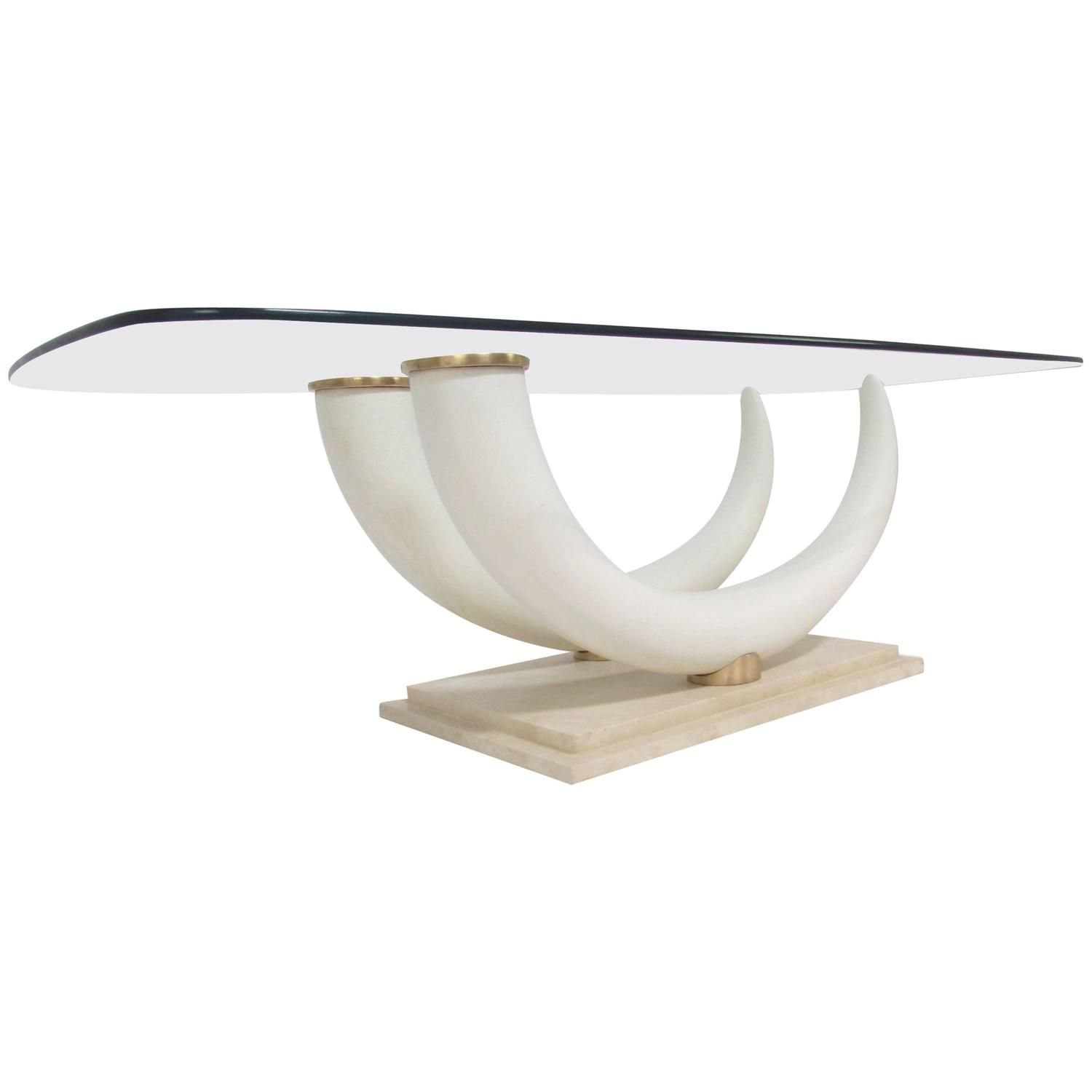 faux elephant tusk coffee tablemaison jansen | tables and modern
