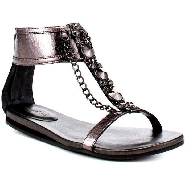 Guess Footwear Women's Wenona 2 - Pewter LL ($80) ❤ liked on Polyvore featuring shoes, sandals, flats, ankle strap, casual, comfort, open toe, t-strap, women and ankle wrap sandals
