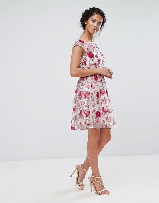 997befbe36 Asos - Petite - Little Mistress Petite Premium Embroidered Skater Dress in  vibrant pink and white floral