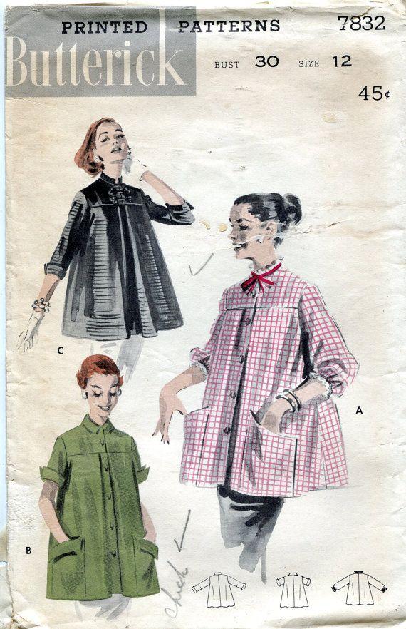 Vintage 1950s Maternity Smock Pattern, Butterick 7832, Size 12, Bust ...