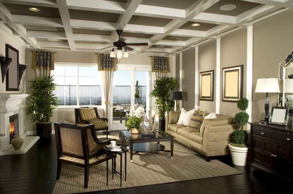 Living Room Ideas Dark Floors living room design with glass doors to large patio. dark wood