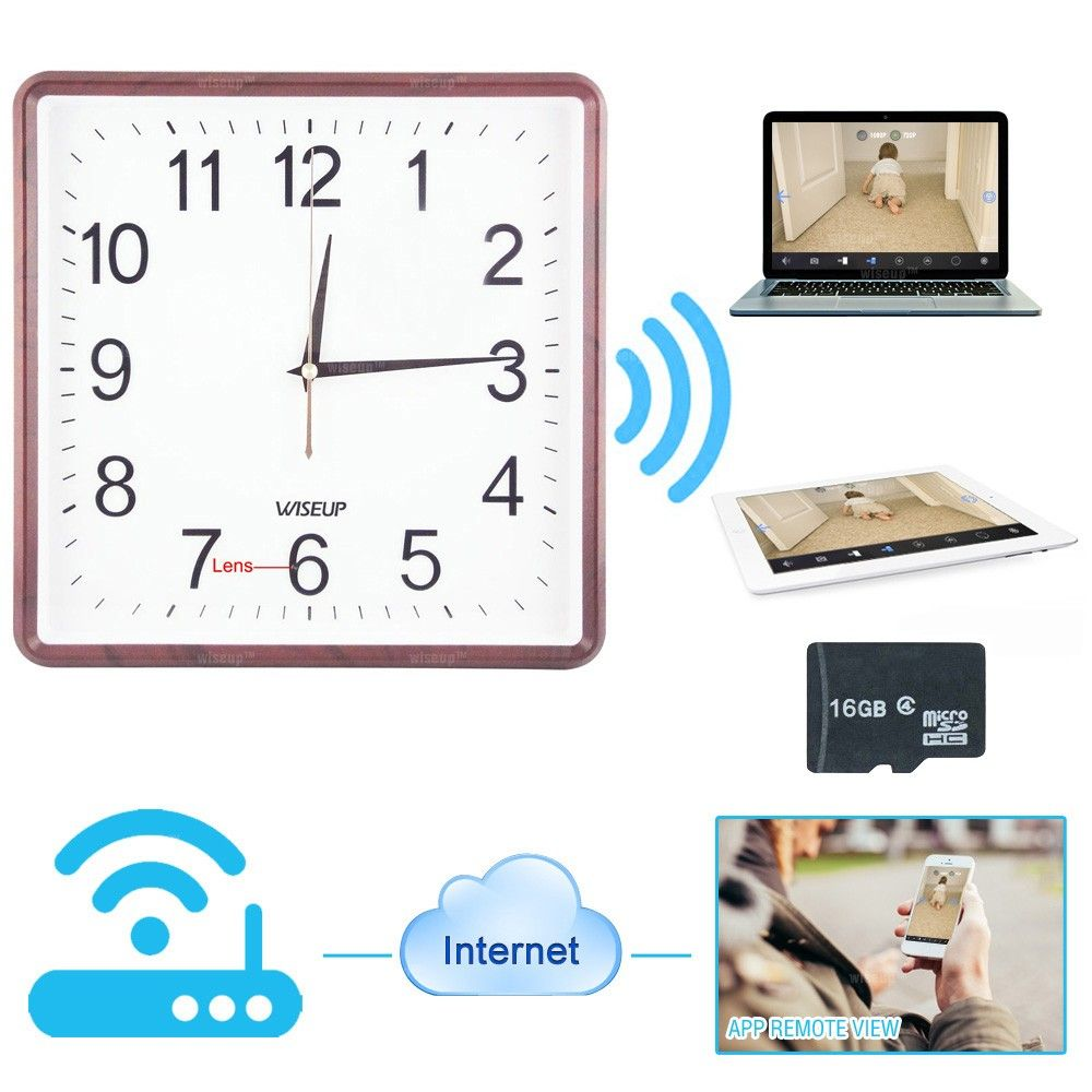 Wiseup 16gb 1280x720p hd wifi network spy camera clock motion wiseup 16gb 1280x720p hd wifi network spy camera clock motion detective sd card video recorder with amipublicfo Images